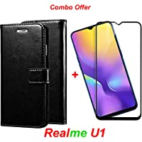 Goelectro REALme U1 (Combo Offer) Leather Dairy Flip Case Stand with Magnetic Closure & Card Holder Cover + 6D Curved Tempered Glass Screen Protector (Black)