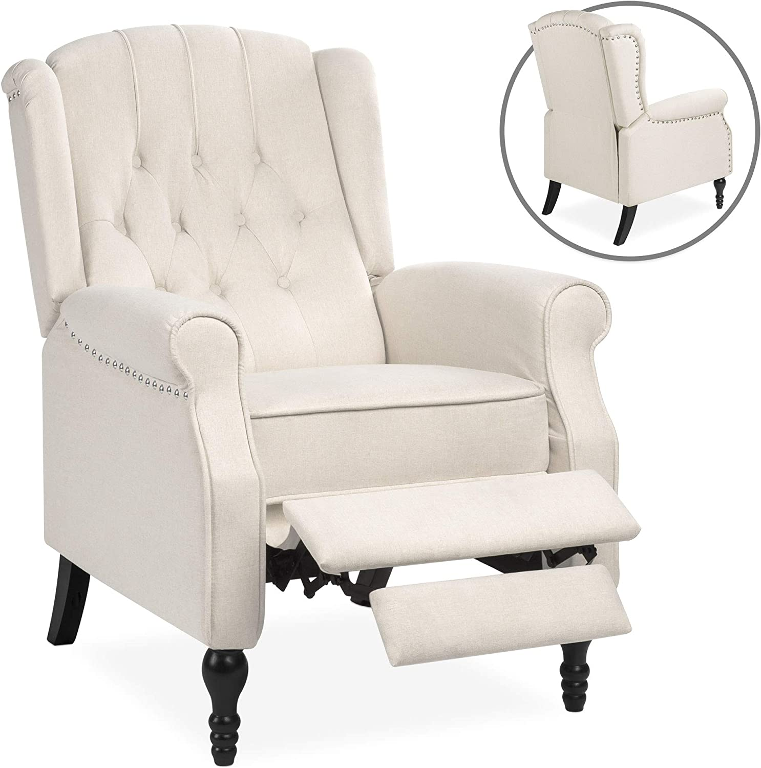 Nailhead Trim Beige Best Choice Products Tufted Upholstered Wingback Push Back Recliner Armchair w//Padded Seat