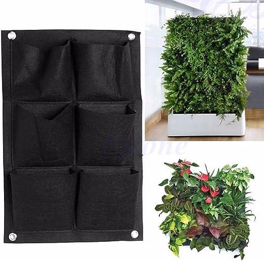 Jiamins Macetero vertical de jardín, macetero de pared viva, vertical, macetas colgantes, bolsa de plantación para interior al aire libre, maceta, verduras, jardines de flores: Amazon.es: Jardín