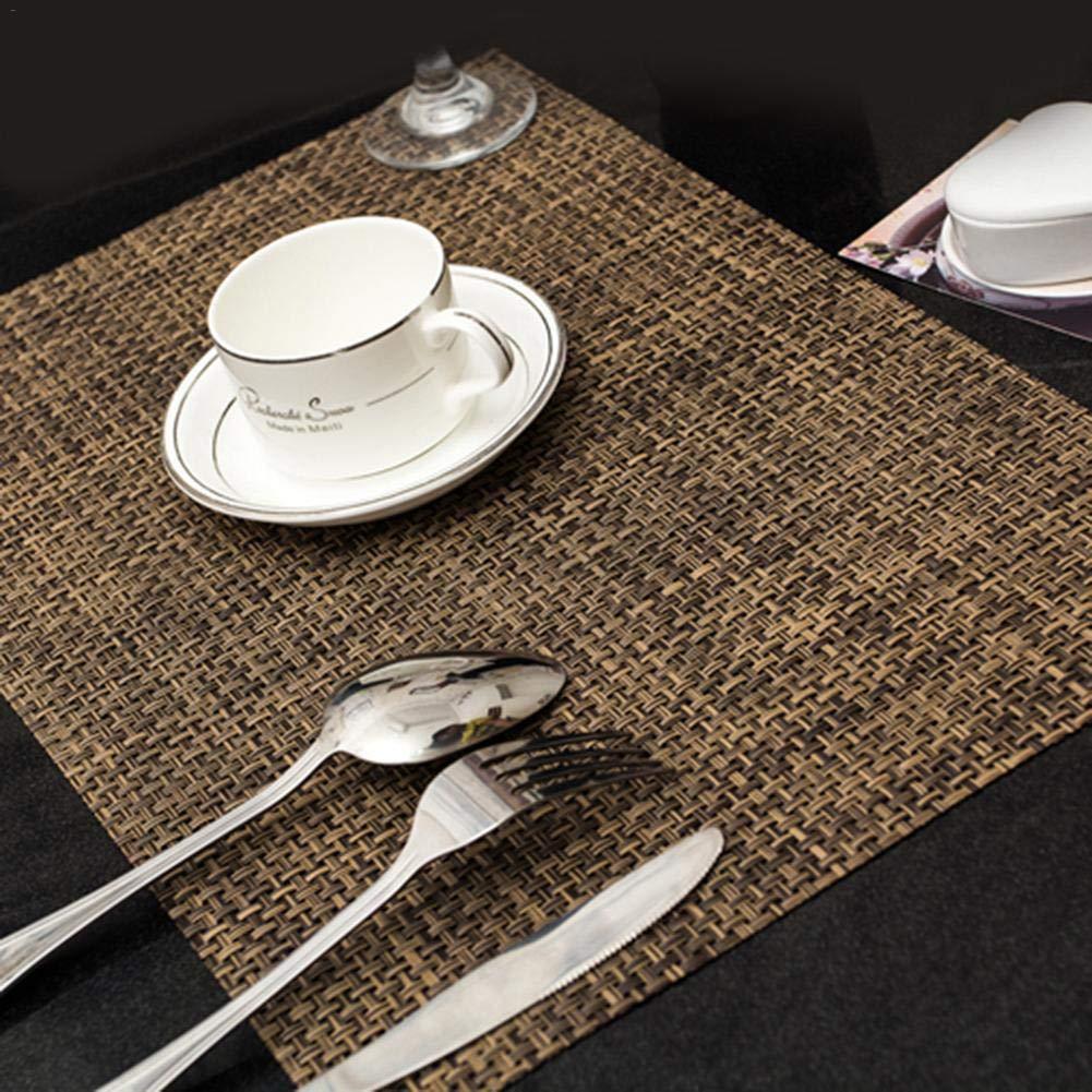 Hifuture 4PCS Sets de Table Écologiques PVC Européen Set de Table Antiderapant Isolant Western Rectangulaire Style Japonais Set de Table Simple Coasters Bowl West Restauran