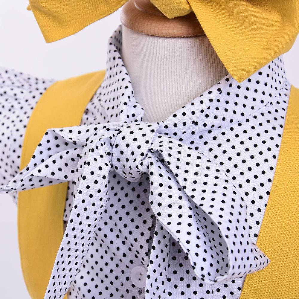 Mamum 3pcs enfant en bas /âge b/éb/é filles points dimpression tops t-shirt sangle jupe tenues ensemble 90 B/éb/é V/êtements 24Mois