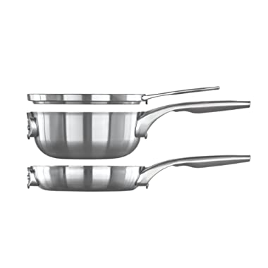 Calphalon Premier Space Saving Stainless Steel 3 Piece Set, 8  Stack