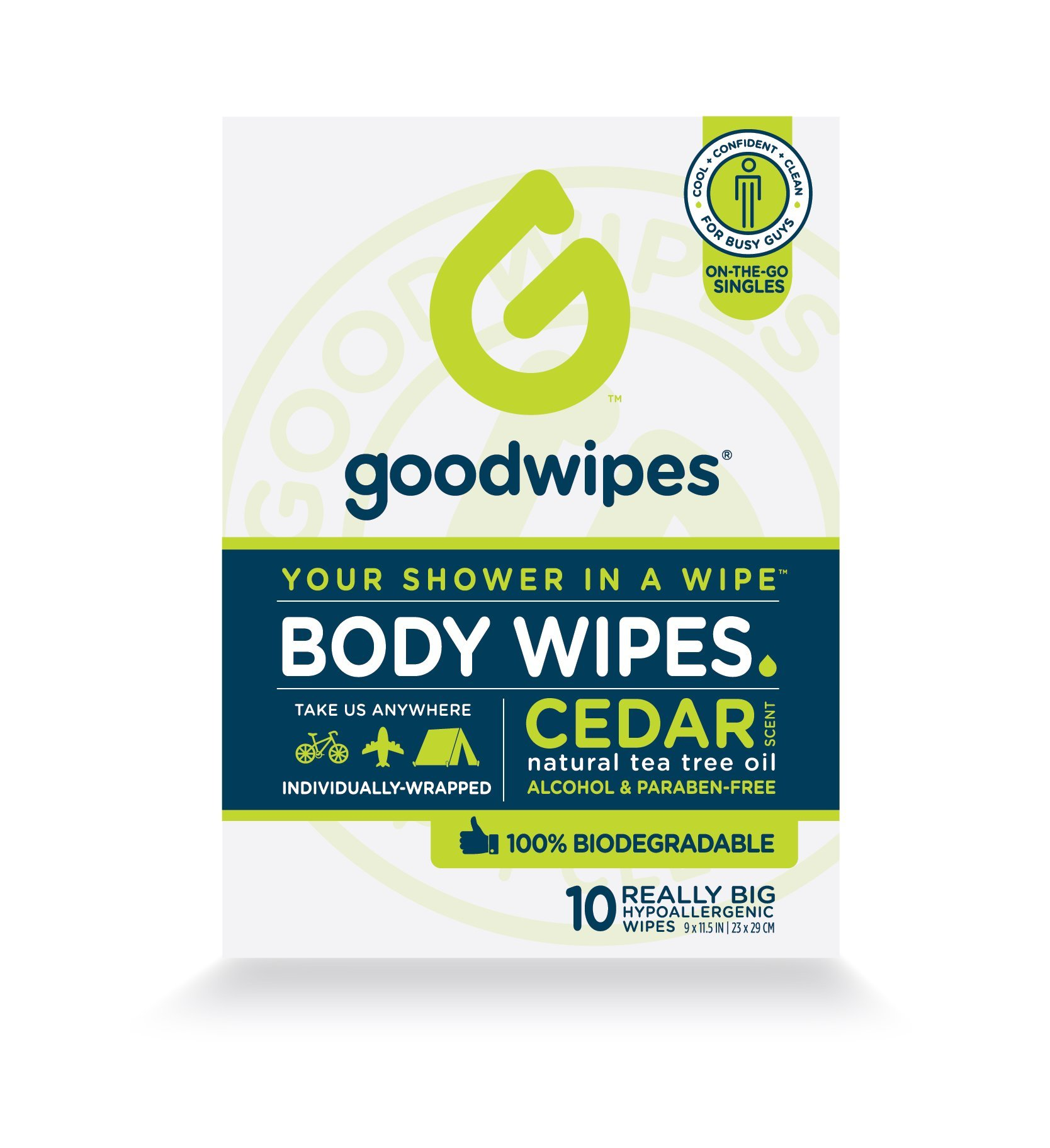 GoodWipes Biodegradable Cleansing Deodorizing Body Wipes for Men Box of 10 individually wrapped