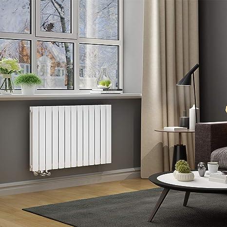 ELEGANT Paneelheizkörper Horizontal 630 x 1001 mm Weiß Badezimmer/Wohnraum  Doppellagig Horizontal Heizkörper Badheizkörper Design Flachheizkörper