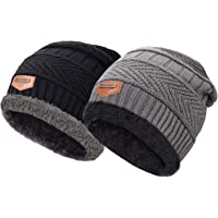 Maylisacc Winter Warm Knit Beanie Hat Neck Warmer Scarf Set 2 Pcs with Fleece Lining for Men and Women