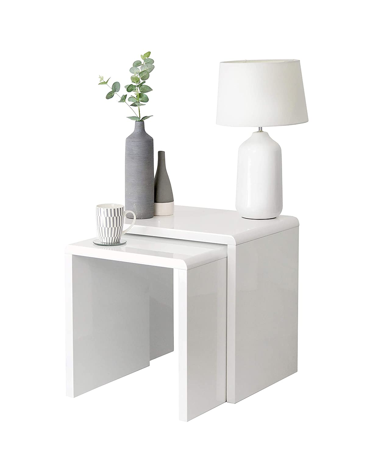 High Gloss White Nest of 2 Coffee Table Side End Tables Living Room Furniture House & Homestyle