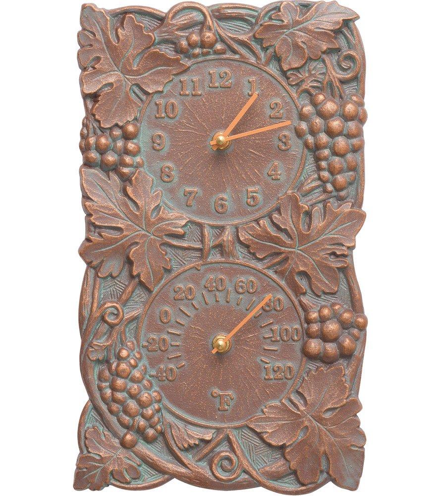 SKB family Grapevine Outdoor Thermometer and Clock, 8'' x 13.75'' x 2'' x 5 lbs, Copper Verdi