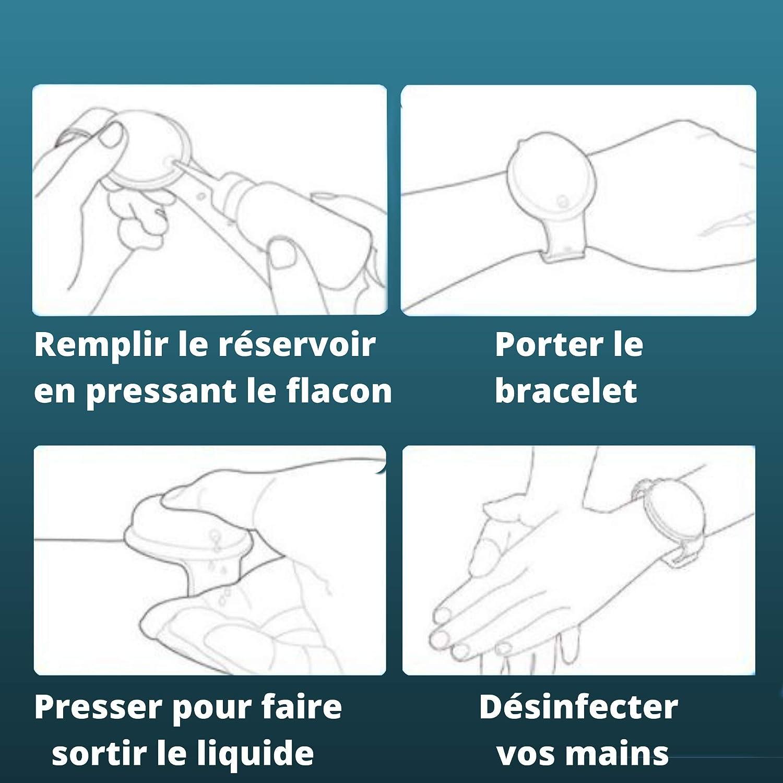 ARMONY PARIS Bracelet Gel Bracelet Distributeur de Gel Distributeur Gel Blanc