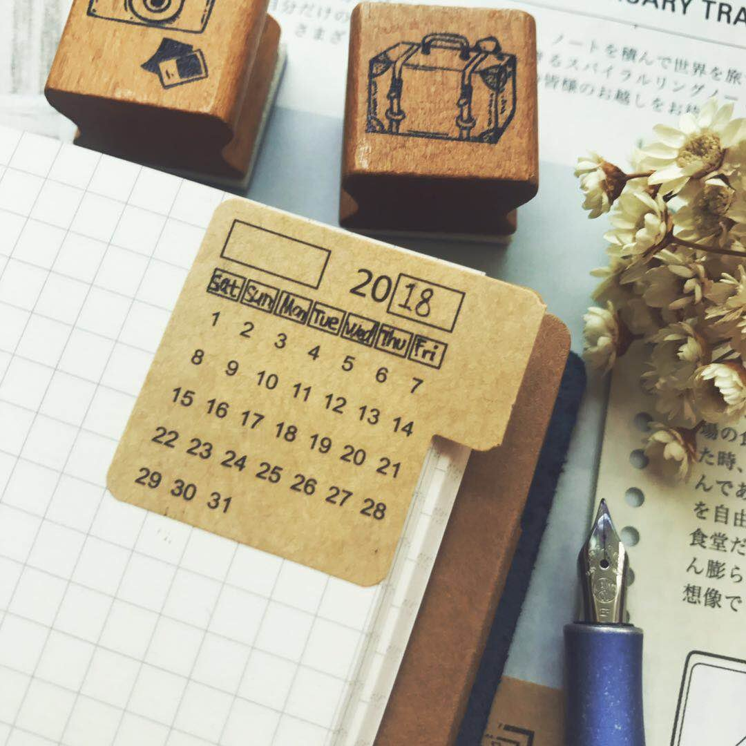 Chris.W Self Adhesive Undated Monthly Calendar Stickers with Index Tabs for Planner, Appointment Book and Journal - Kraft Paper(2 Sets)