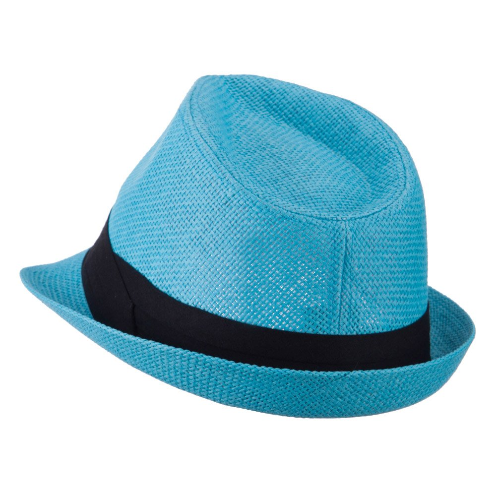 7863817cb2b Pleated Hat Band Straw Fedora Hat - Turquoise OSFM  Amazon.ca  Clothing    Accessories
