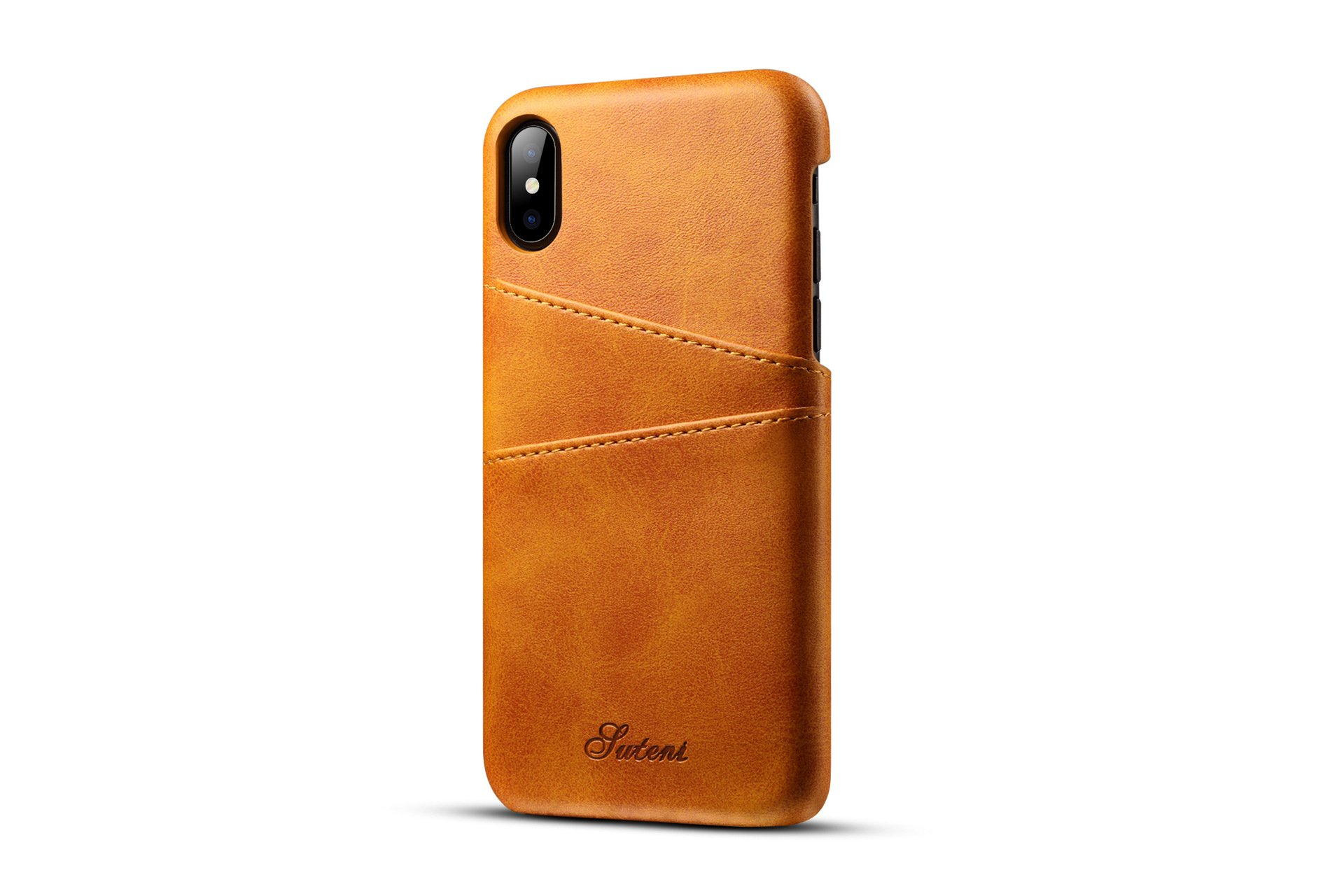 Phone 7 Plus Leather Card Cover,Slim Professional iPhone 8 Plus Cover with 2 Card Holder Slots Minimalist Vintage Synthetic Leather Wallet Case