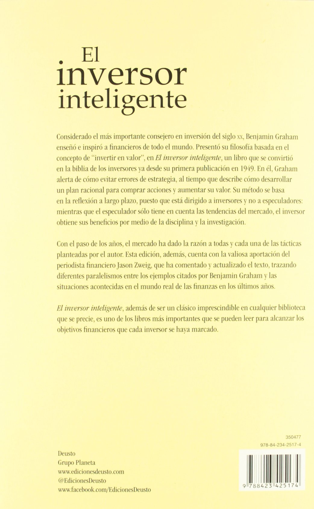 El inversor inteligente: Benjamin Graham: 9788423425174: Amazon.com: Books