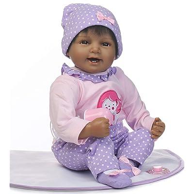 "NPKDOLLS African American Baby Doll Girls 22"" Realistic Reborn Baby Dolls Soft Vinyl Silicone Baby Babies African American Dolls Newborn Baby Black Girl Doll Xmas Present Set: Toys & Games"