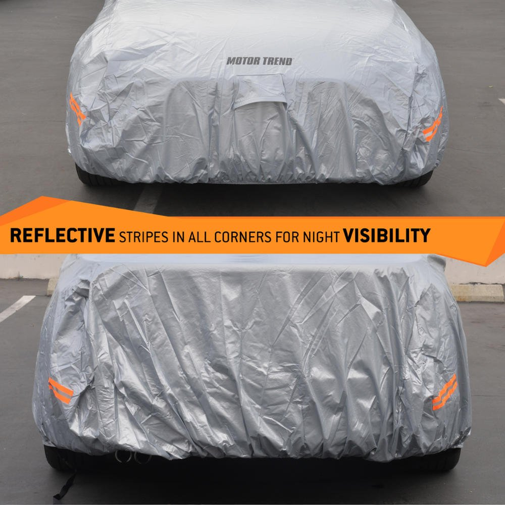 Ultimate 6 Layer Protection Heavy Duty Outdoor Fleece-Lined Sonic Coating Motor Trend OC-643 TrueShield Waterproof Car Cover Full Size up to 190 L