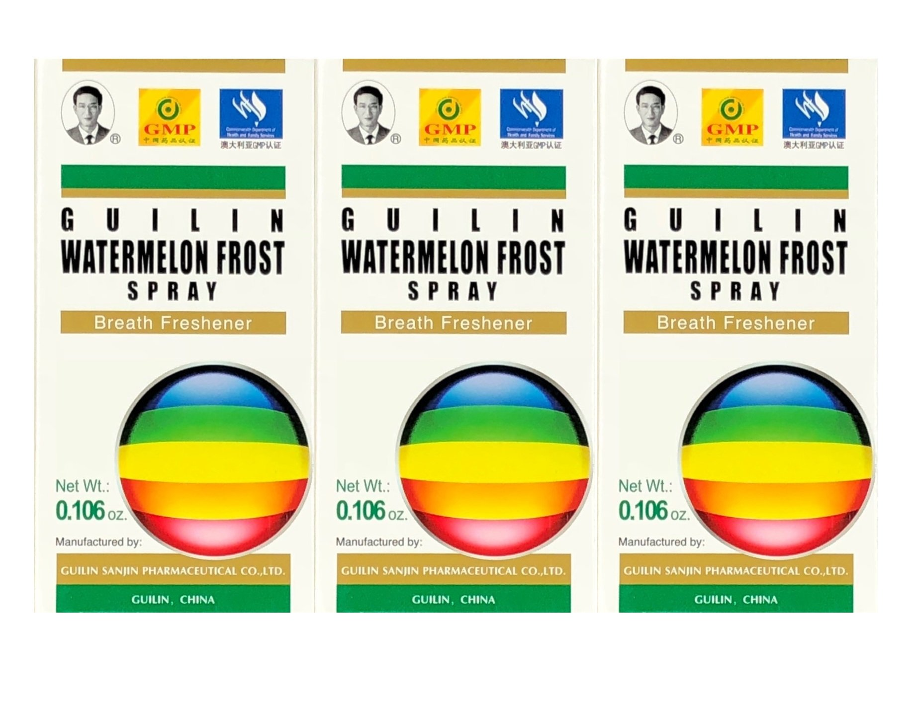 Guilin Watermelon Frost Spray, Helps Dry Throat & Breath Freshener 3g (3 Boxes)
