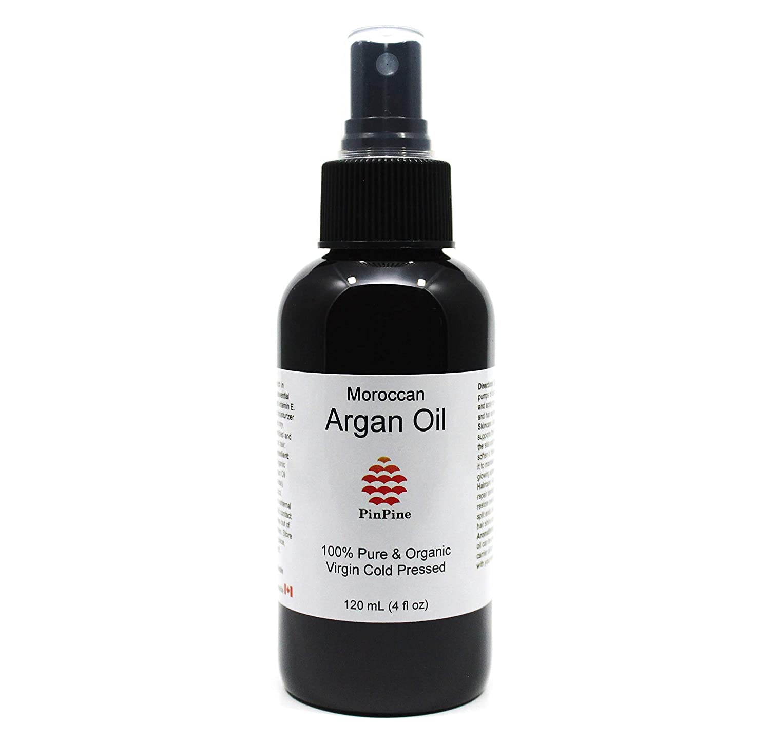 100% Pure Organic Moroccan Argan Oil (Carrier Oil) - Premium Quality - 120 mL (4 fl oz) in Spray Bottle for Easy Application PinPine Naturals