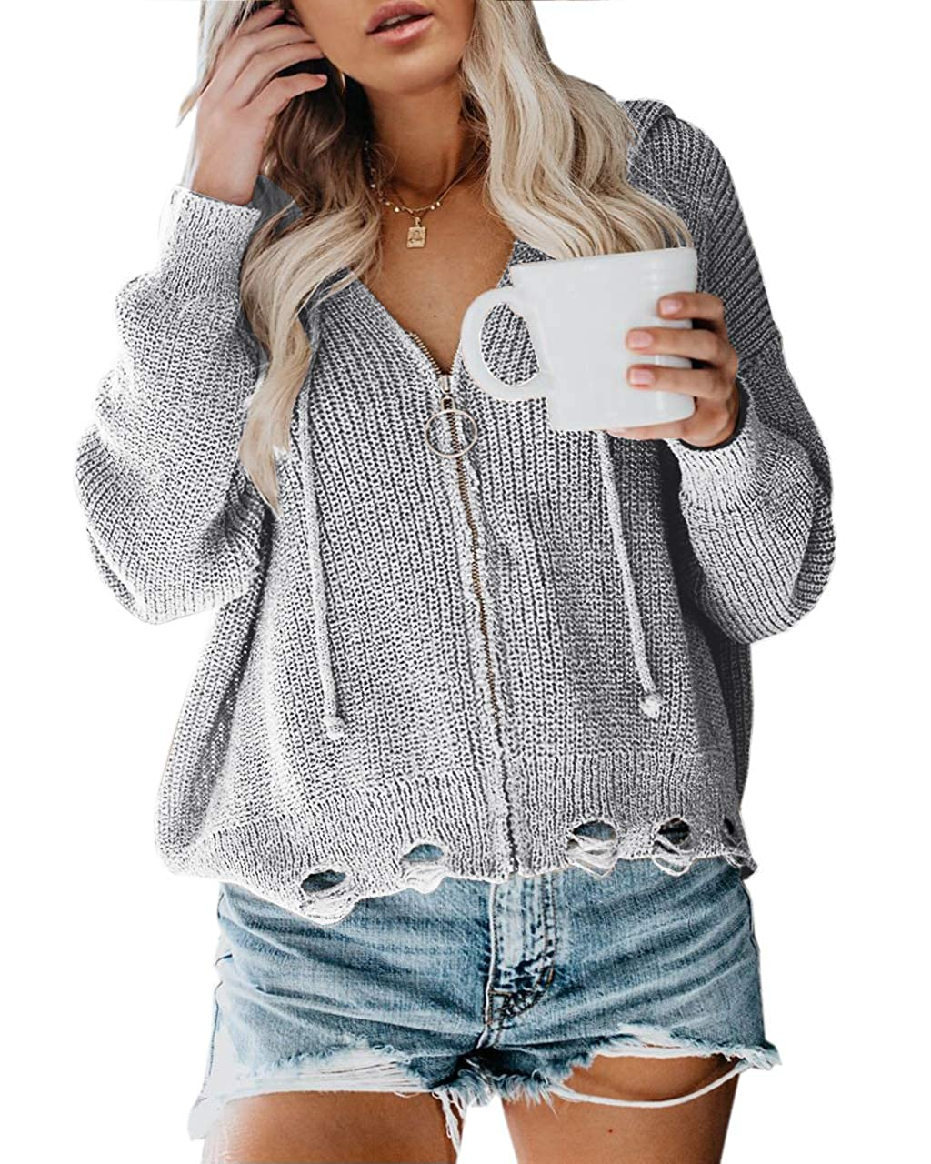 Yskkt Womens Plus Size Hoodies Sweatshirt Zip Up Drawstring Loose Knit Fall Sweaters Pullover