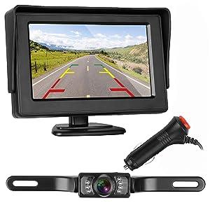 ZSMJ Backup Camera and Monitor Kit For Car/Suv/Pickup/Truck/Van/RV/Trailer Single Power Rear View System Driving/Reversing Use IP68 Waterproof Night Vision