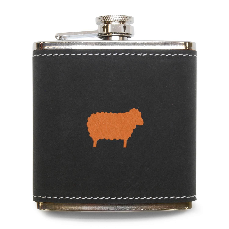 絶対一番安い Sheepグレーレザー6オンスフラスコステンレススチールボディ USA、ハンドメイドin USA B072MG2GDY B072MG2GDY, 清見村:c64651e1 --- a0267596.xsph.ru