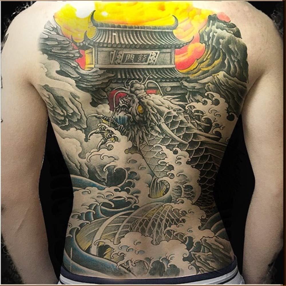 3Pcs-Waterproof Tattoo Sticker Wolf and Girl Whole Back Tattoo Big ...