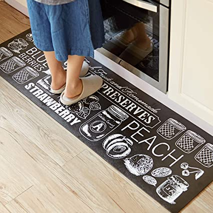 Abreeze Anti-Fatigue Designer Comfort Kitchen Floor Mat, 17.7x31.5, Black  and White Rug Stain Resistant Surface with 0.4cm Thick Ergo-Foam Core for  ...