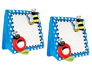 Amazon.com : Sassy Floor Mirror, Blue, 2 Count : Baby