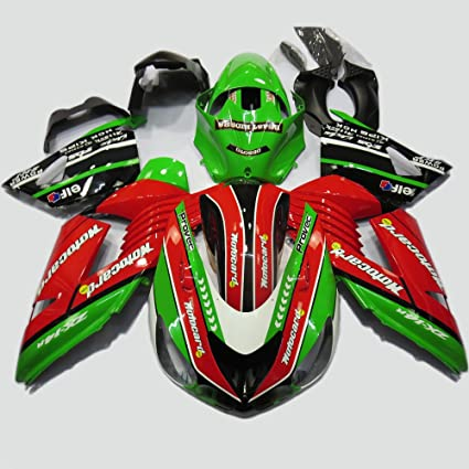 Amazon.com: ABS Injection Molding - Green & Red Fairing Kit ...