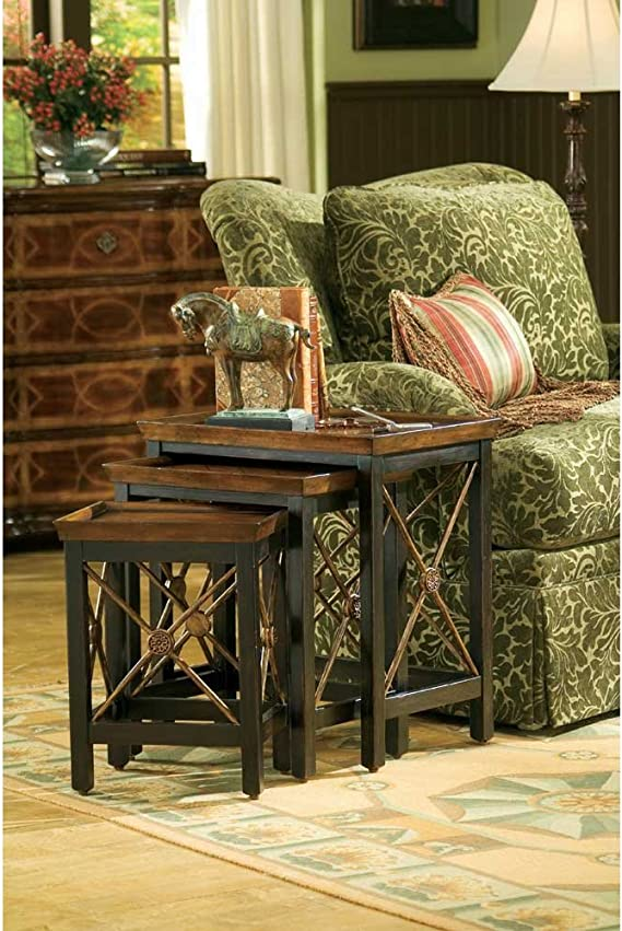 Hooker Furniture Seven Seas Nest Of Three Tables W Medallion Motif Furniture Decor Amazon Com