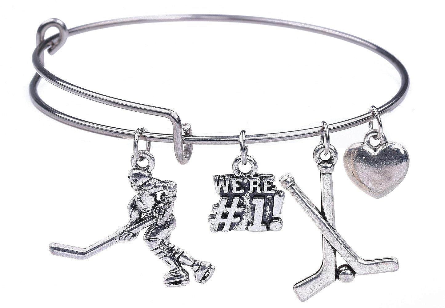 Acciaio inossidabile Puckster Ice hockey stick We' Re # 1 charm braccialetto sport creazione di gioielli per ragazze YiYou