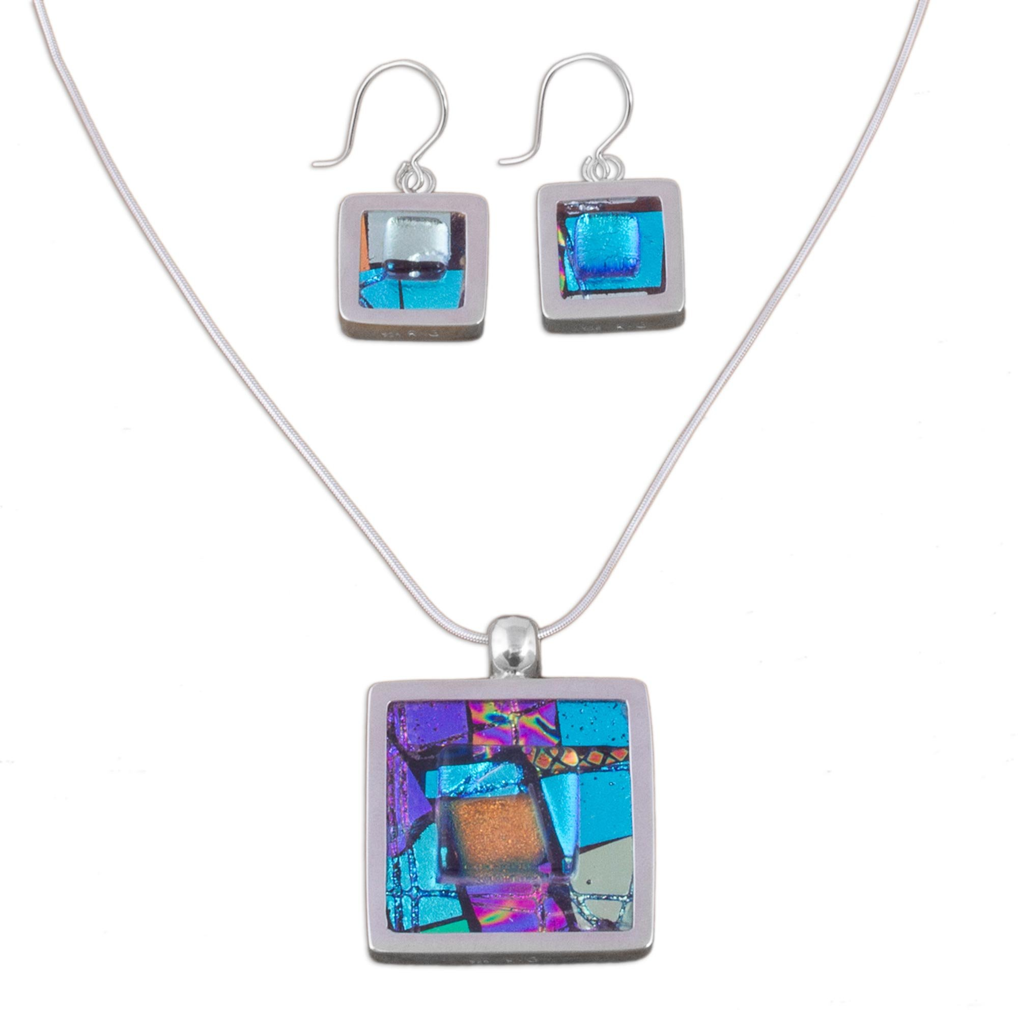 NOVICA .925 Sterling Silver Glass Jewelry Set 'Spring Abstract'
