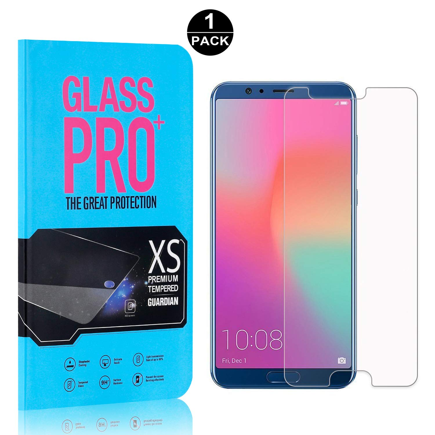 9H Scratch Resistant Ultra Clear Tempered Glass Screen Protector Film for Huawei Honor 10 1 Pack Bear Village Screen Protector for Huawei Honor 10