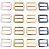 SBest 12pcs 4 Color 1 inch Zinc Alloy Slider Tri-Glide Buttons Webbing Strap Tri Glide Adjustable Buckle Fasteners for…
