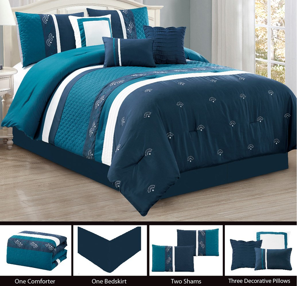 Modern 7 Piece QUEEN Ruffle Bedding Navy Blue / White Quilted Comforter Set with accent pillows