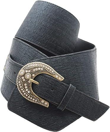 Women Fashion Blue Faux Leather Wide Belt Big Silver Metal Bling Buckle Size S M