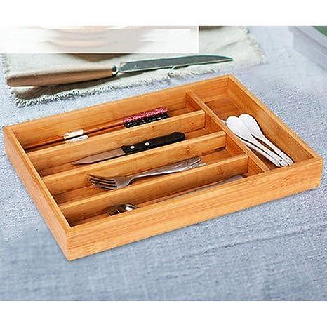 Cubertería de madera de bambú caja de almacenamiento de ...