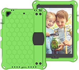 ZENGMING Tablet PC Case Cover for iPad Pro 9.7 case,for New iPad 2018/2017 case,for iPad Air1 Air2 case Shockproof Tablet EVA Cover with Shoulder Strap and Hand Strap,for Kids (Color : Green+Black)