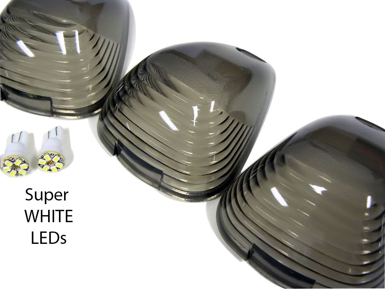 Cab Roof Lights 5 Five Piece Pc Covers In Smoke Crl 06 Ford F 250 Factory Switch Wiring 264142bk Super White Led Bulbs For 99 14 F250 F350 F450 F550 F650 Superduty Excursion
