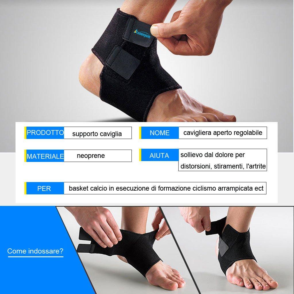 ASOONYUM Supporto Caviglia Tutore e Protezione per Calcio Pallacanestro il running, Sport Fitness, Recupero da Infortuni Neoprene Traspirante