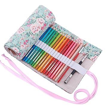 Abaría - Bolso para lápices, estuche enrollable para 36 lapices colores, portalápices de lona, bolsa organizador lápices para infantil adulto, floral ...