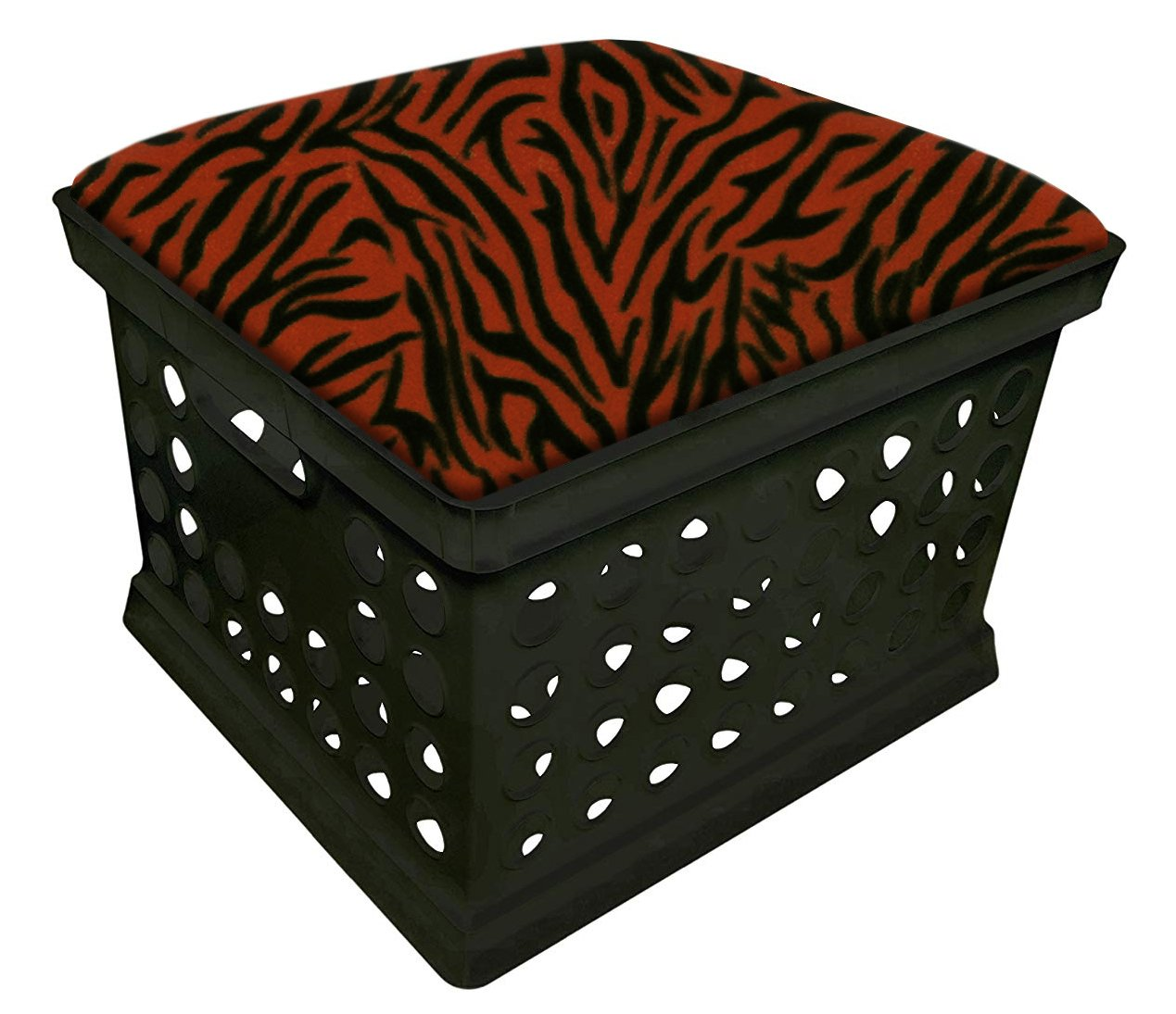 Black Utility Crate Storage Container Ottoman Bench Stool for Office/Home/School/Preschool with Your Choice of a Colorful Zebra Pattern Fleece and a Free Flashlight! (Orange)