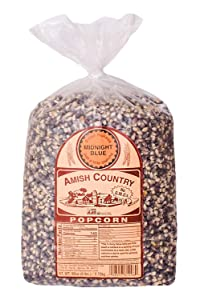 Amish Country Popcorn   6 lb Bag   Midnight Blue Popcorn Kernels   Old Fashioned with Recipe Guide (Midnight Blue - 6 lb Bag)