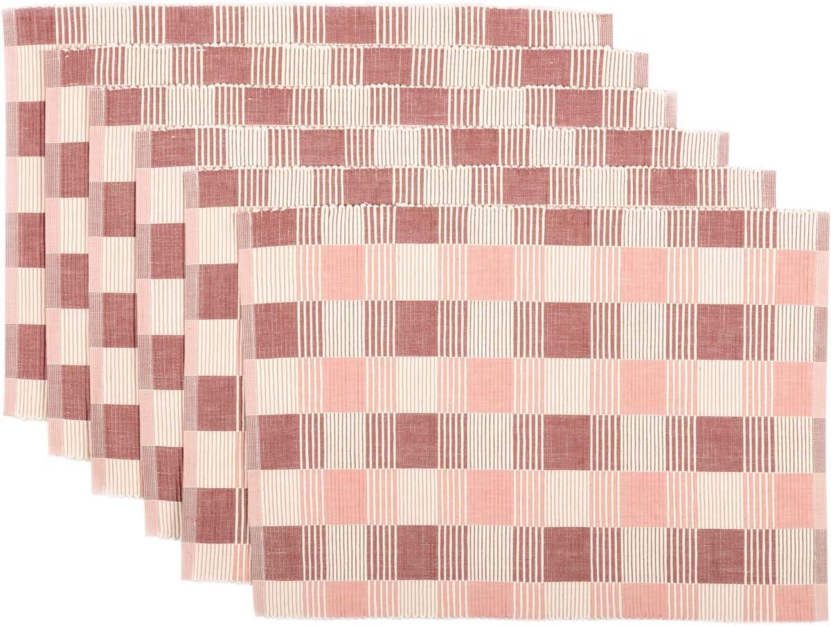 VHC Brands Farmhouse Tabletop & Kitchen - Daphne Purple Ribbed Table Décor, Placemat Set 12x18, Pink