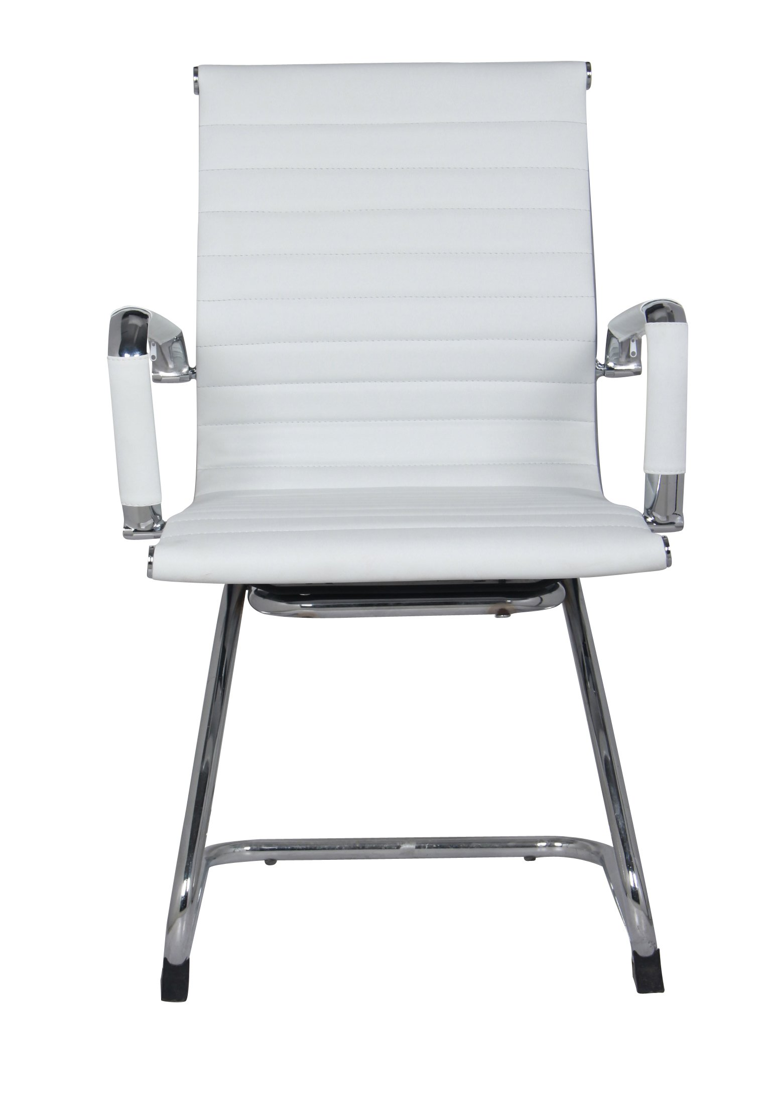 Classic Replica Visitors Chair in White PU Leather. Chrome arms with Protective arm Sleeves with Zip Available. Suitable for Office and Home   Set of 2 Chairs by US Office Elements (Image #2)
