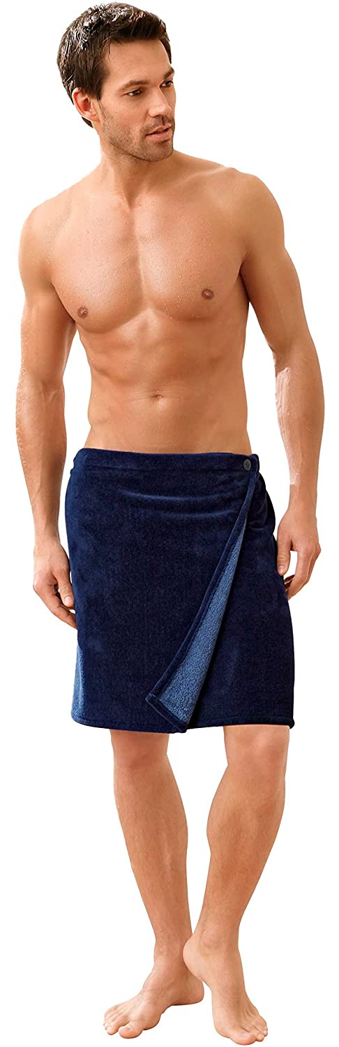 Morgenstern Premium Men's Towel Wrap for Sauna, Spa and Shower. With Elasticated Back and Button Fastener. One Size Fits All. 27,5