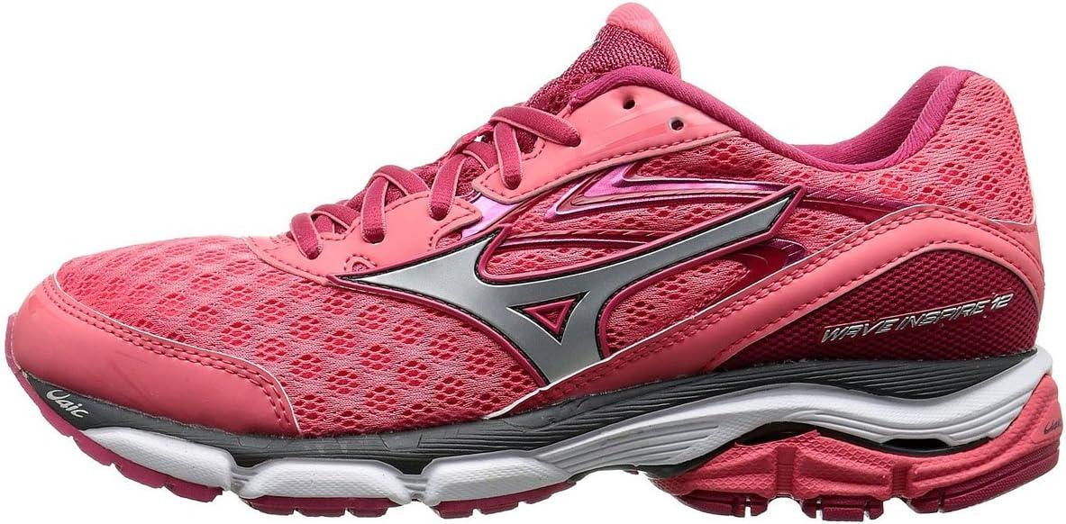 Mizuno Wave Inspire 12 - Zapatillas deportivas para correr para mujer, (Coral/ Plateado (Calypso Coral/Silver)), 7 B(M) US: Amazon.es: Zapatos y complementos