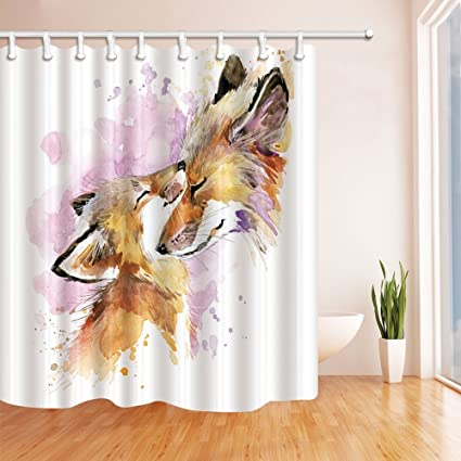 HiSoho Motherhood Decor Watercolor Fox And Baby Shower Curtain Mildew Resistant Polyester Fabric