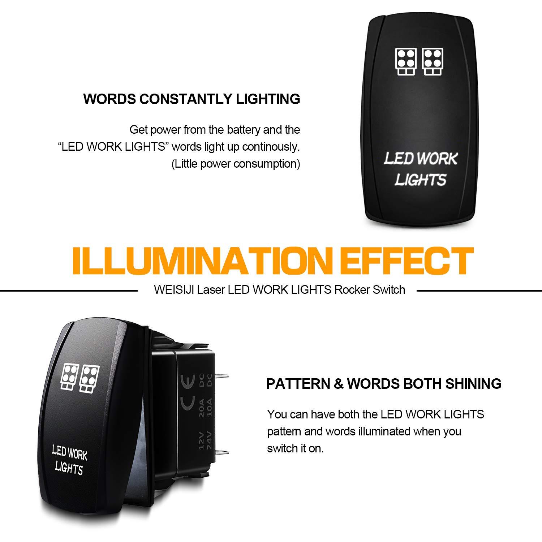 White WEISIJI Rocker Switch 12V 5Pin Led Work Light Switch On-Off Waterproof Led Light Rocker Switch 20A