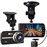 SODIAL(R) Super HD 1080P Front + VGA Rear 290 Degree Super Wide Angle Car Dash Cam with 4 inch Large HD Screen, G-Sensor, Loop Recording, Parking Mode, Super Night Version etc.