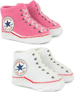 4f5479ed4e86 Converse Baby-Girls 2 Pack Booties Socks  Converse  Amazon.co.uk ...