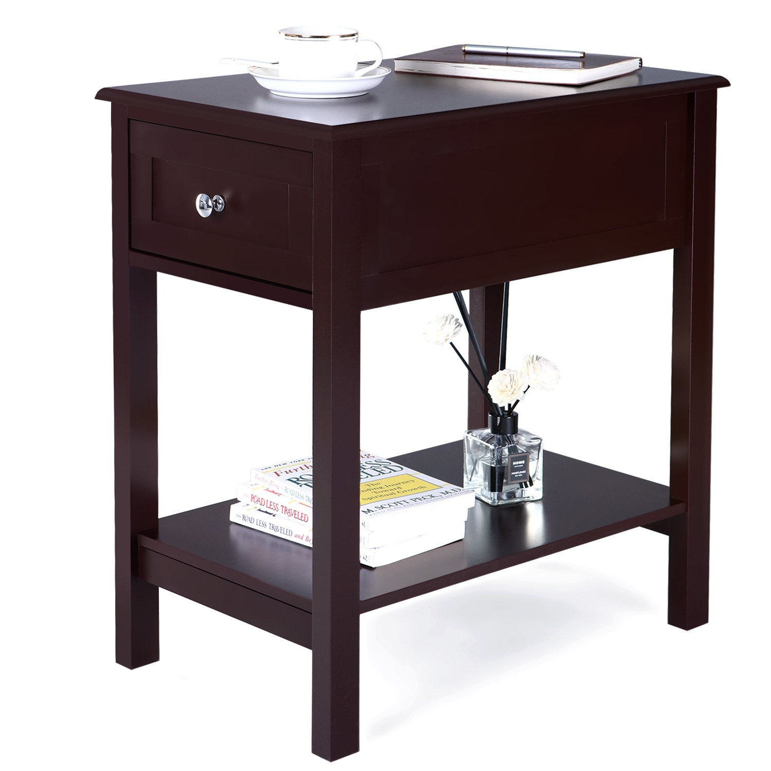 Songmics narrow side table with sliding drawer storage - Narrow side tables for living room ...
